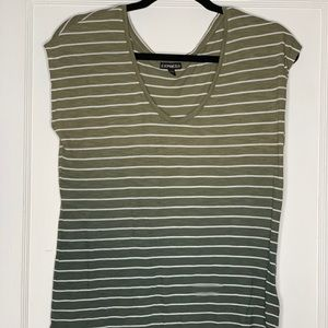 Express S/S Green Gradient Striped Tee S